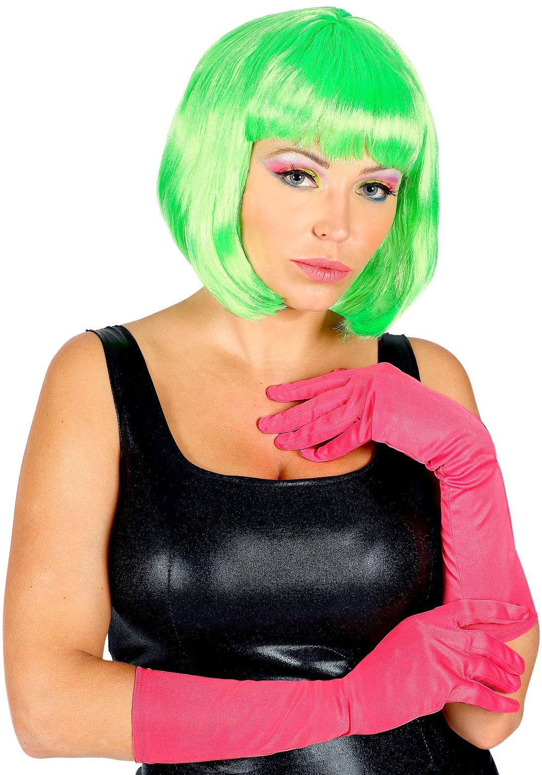 Neon roze lange handschoenen