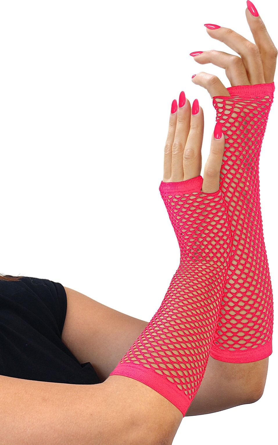 Neon roze lange vingerloze nethandschoenen