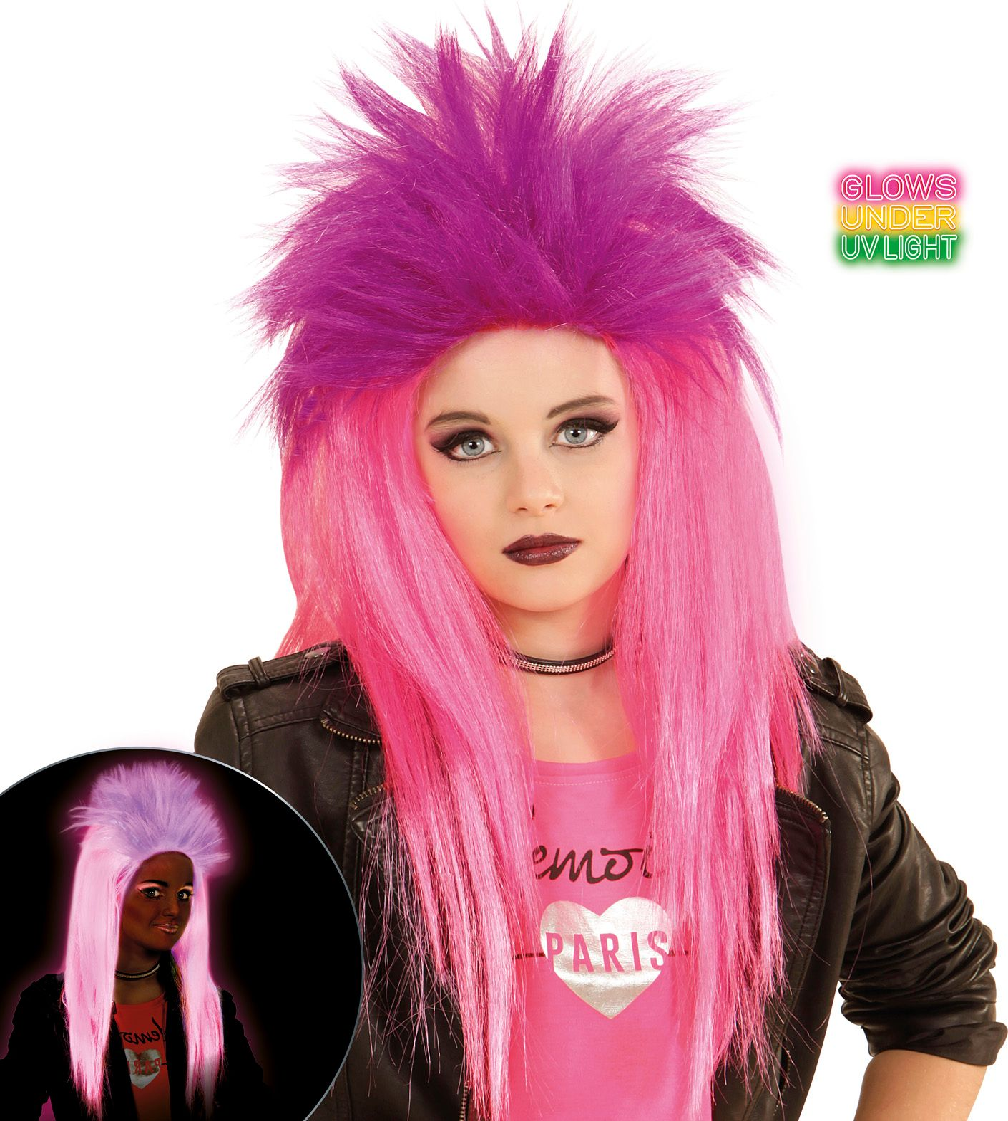 Neon roze-paarse punk pruik