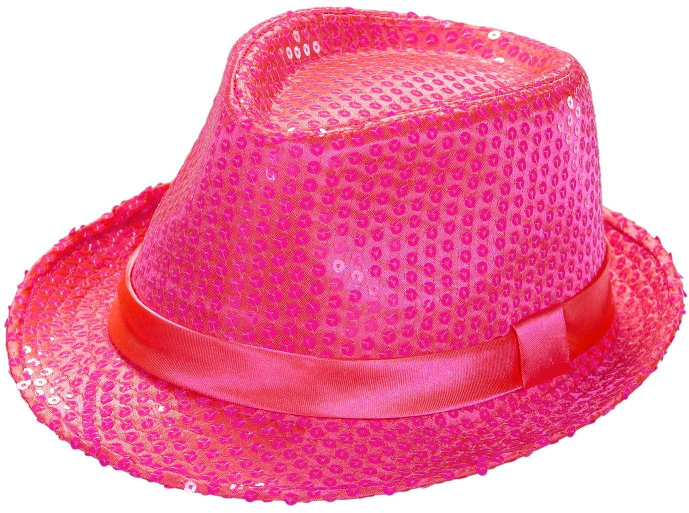 Neon roze pailletten fedora
