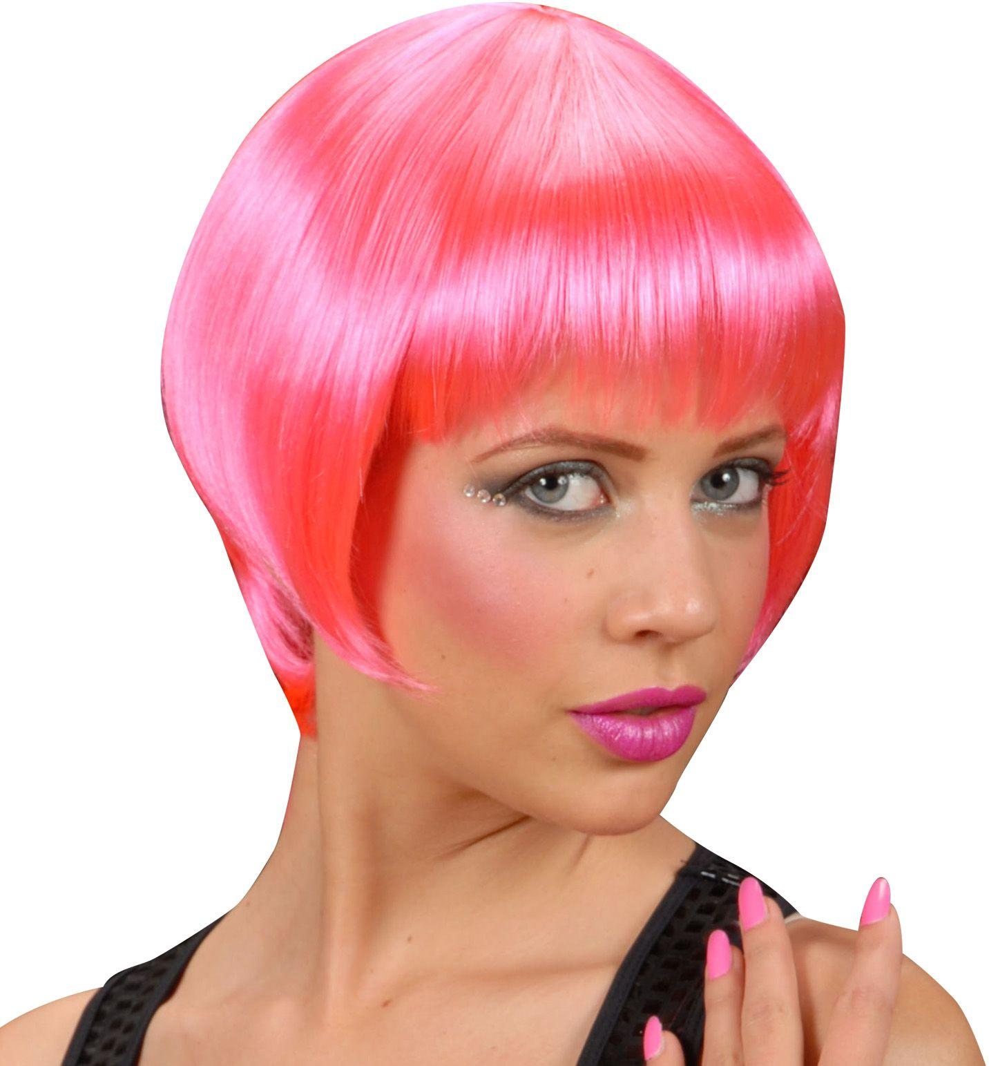 Neon roze pruik