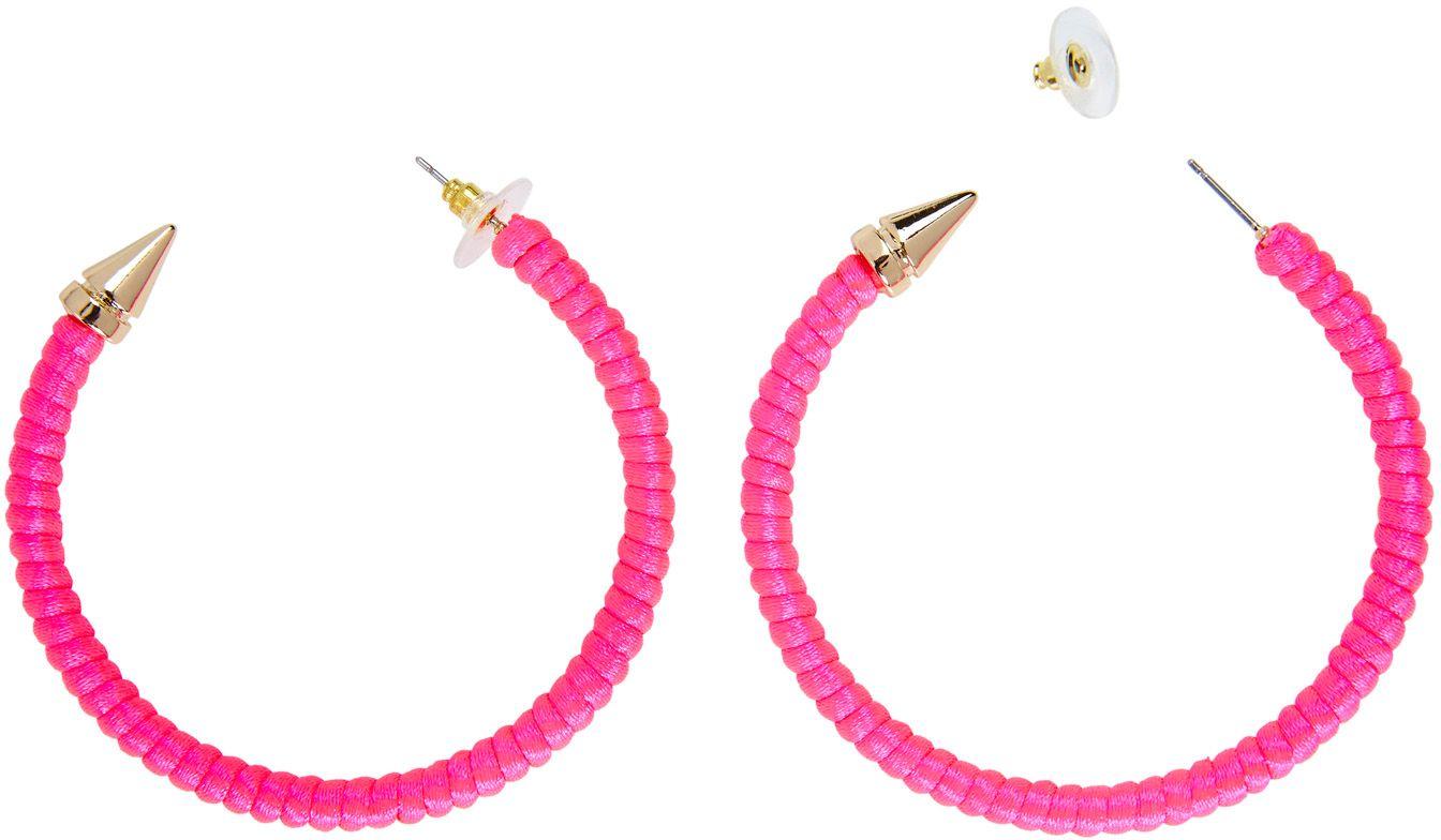 Neon roze ring oorbellen