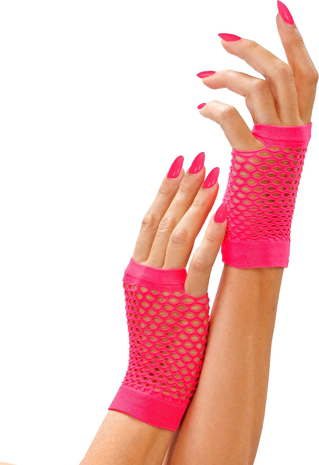 Neon roze vingerloze nethandschoenen