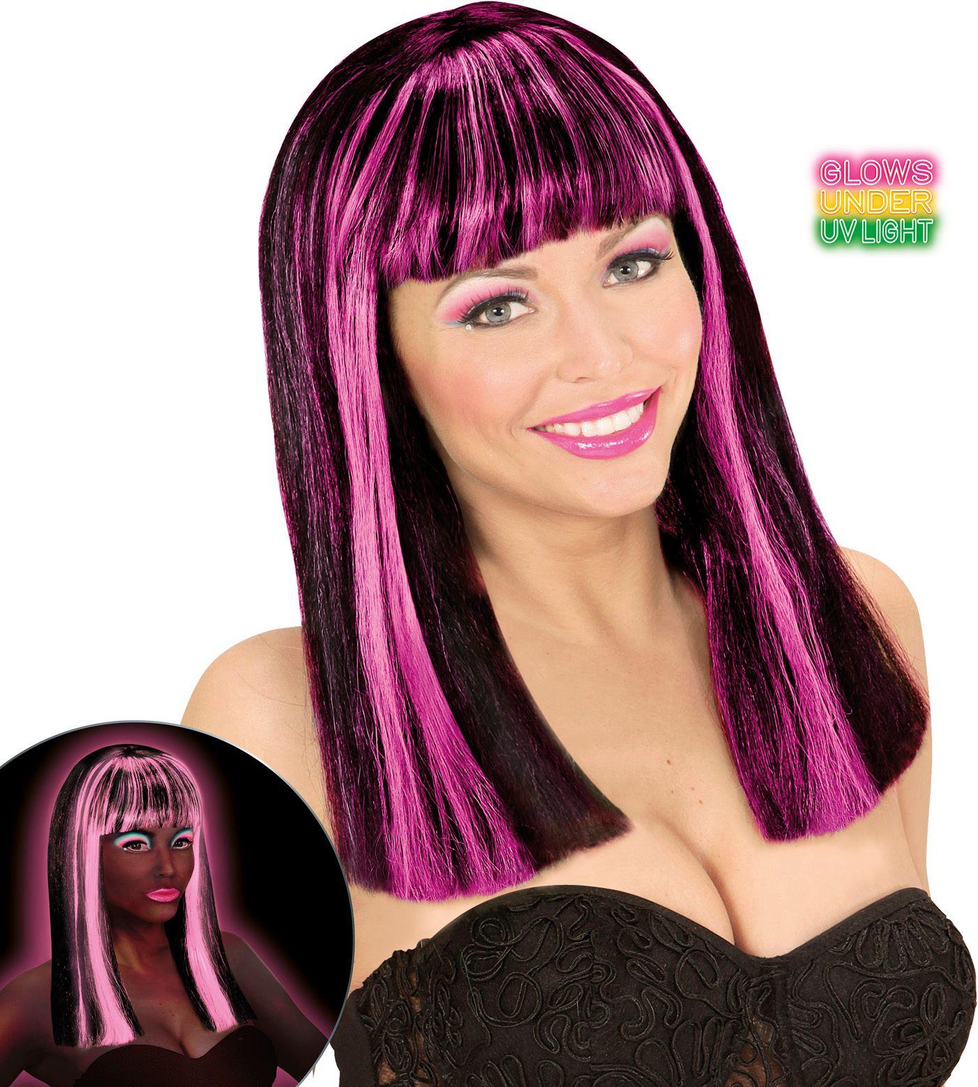 Neon roze-zwarte gestreepte pruik