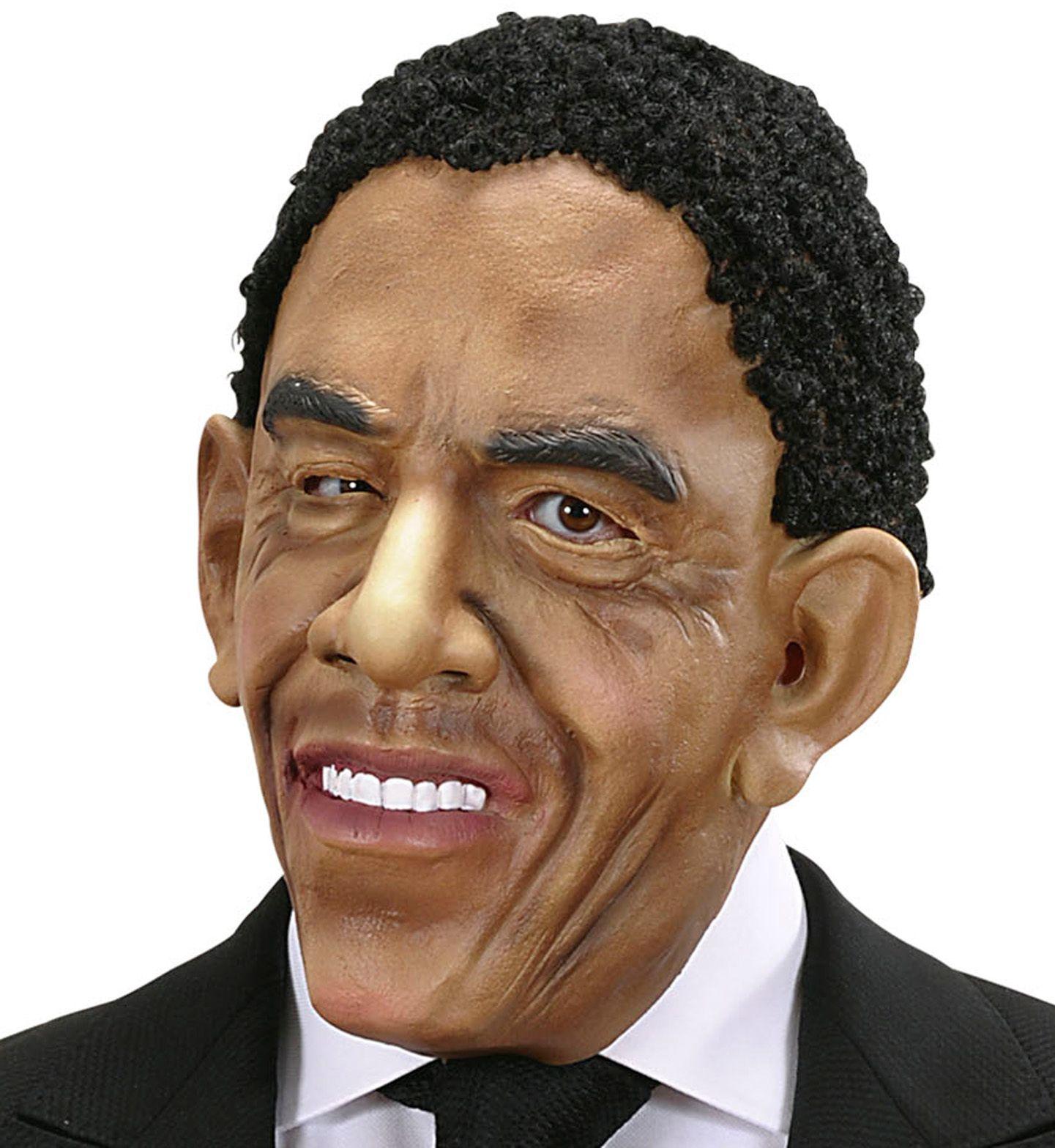 Obama masker met pruik