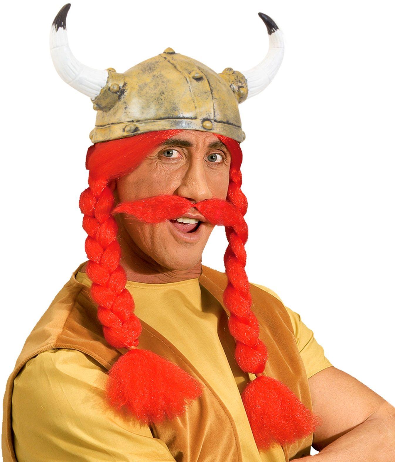 Obelix helm met vlechten en snor