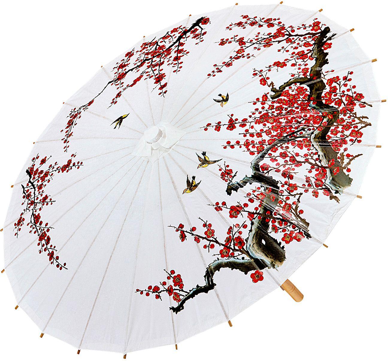 Oosterse paraplu met houten structuur 84cm