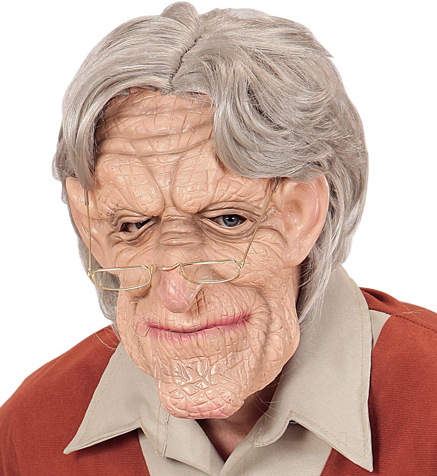 Opa masker met pruik