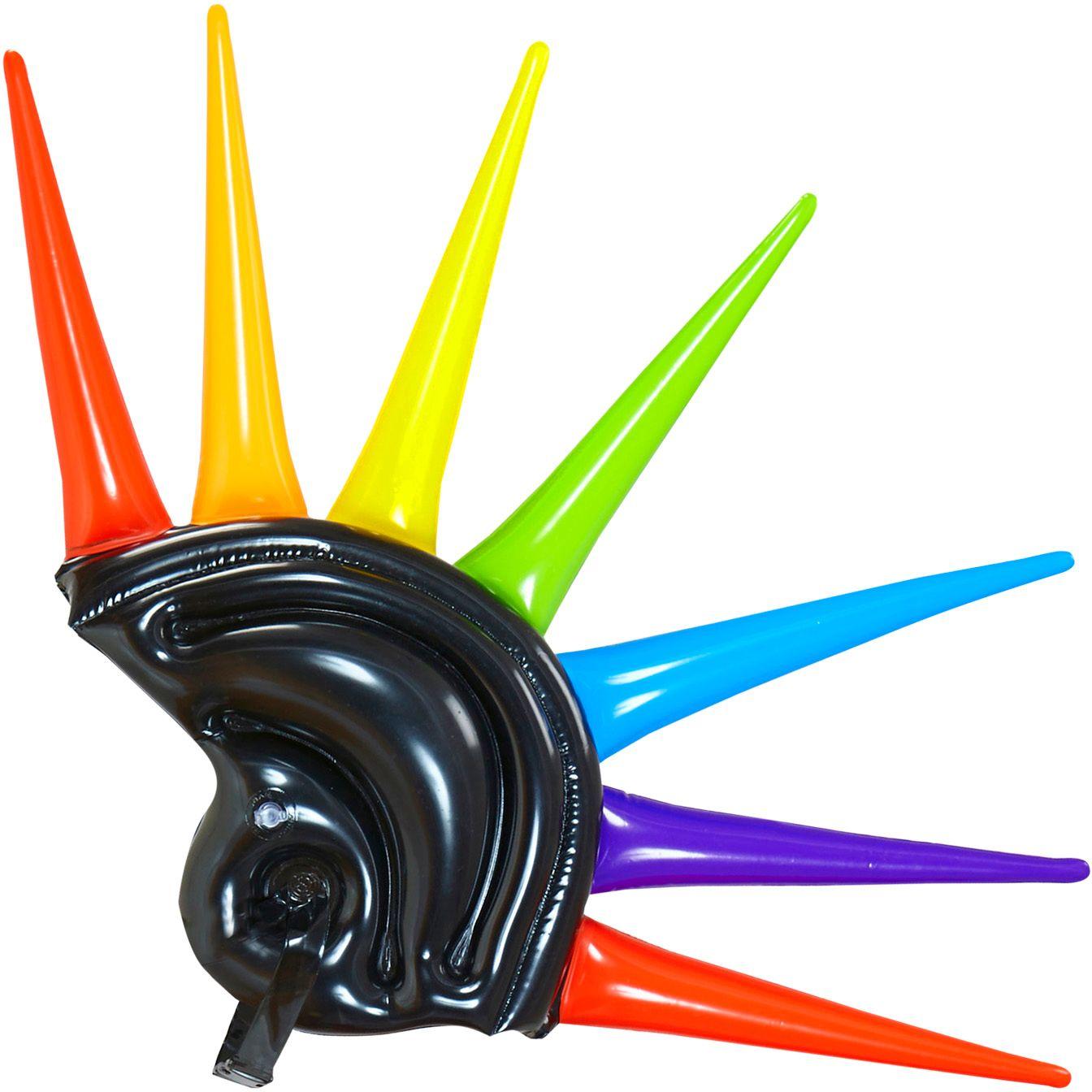 Opblaasbare meerkleurige spikes helm