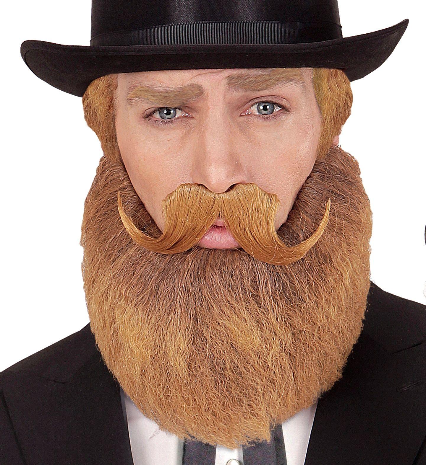 Oranje baard en snor