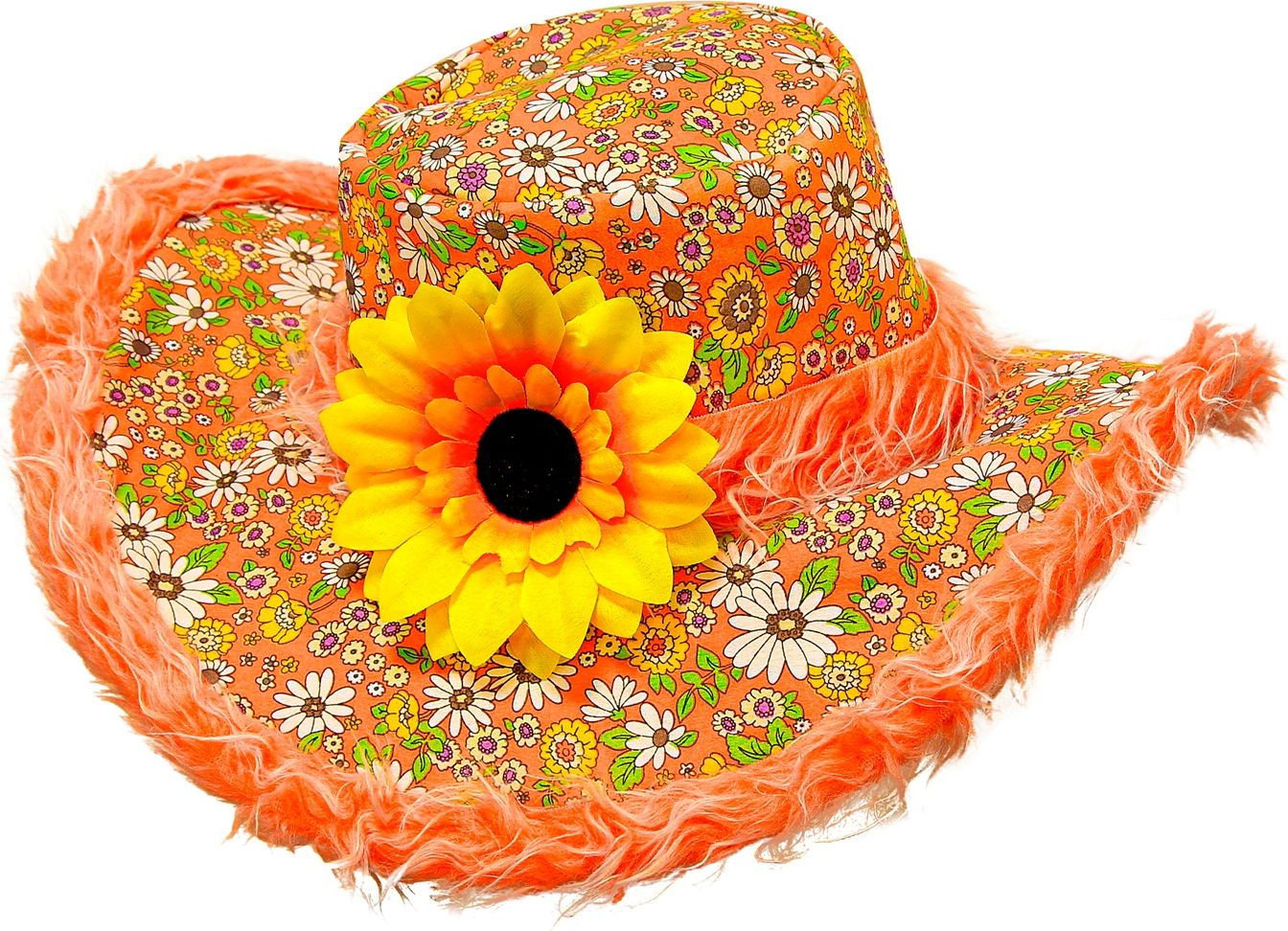 Oranje flower power hoed