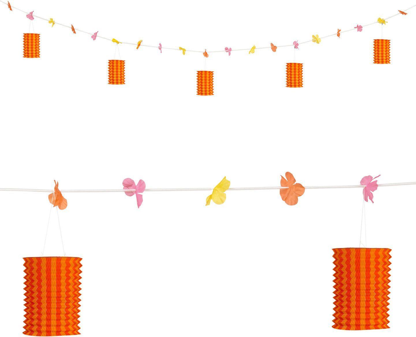 Oranje-gele lantaarn slinger