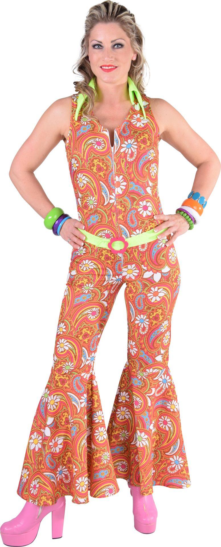 ae65b46f0d3 Oranje hippie jumpsuit dames - Carnavalskleding.nl
