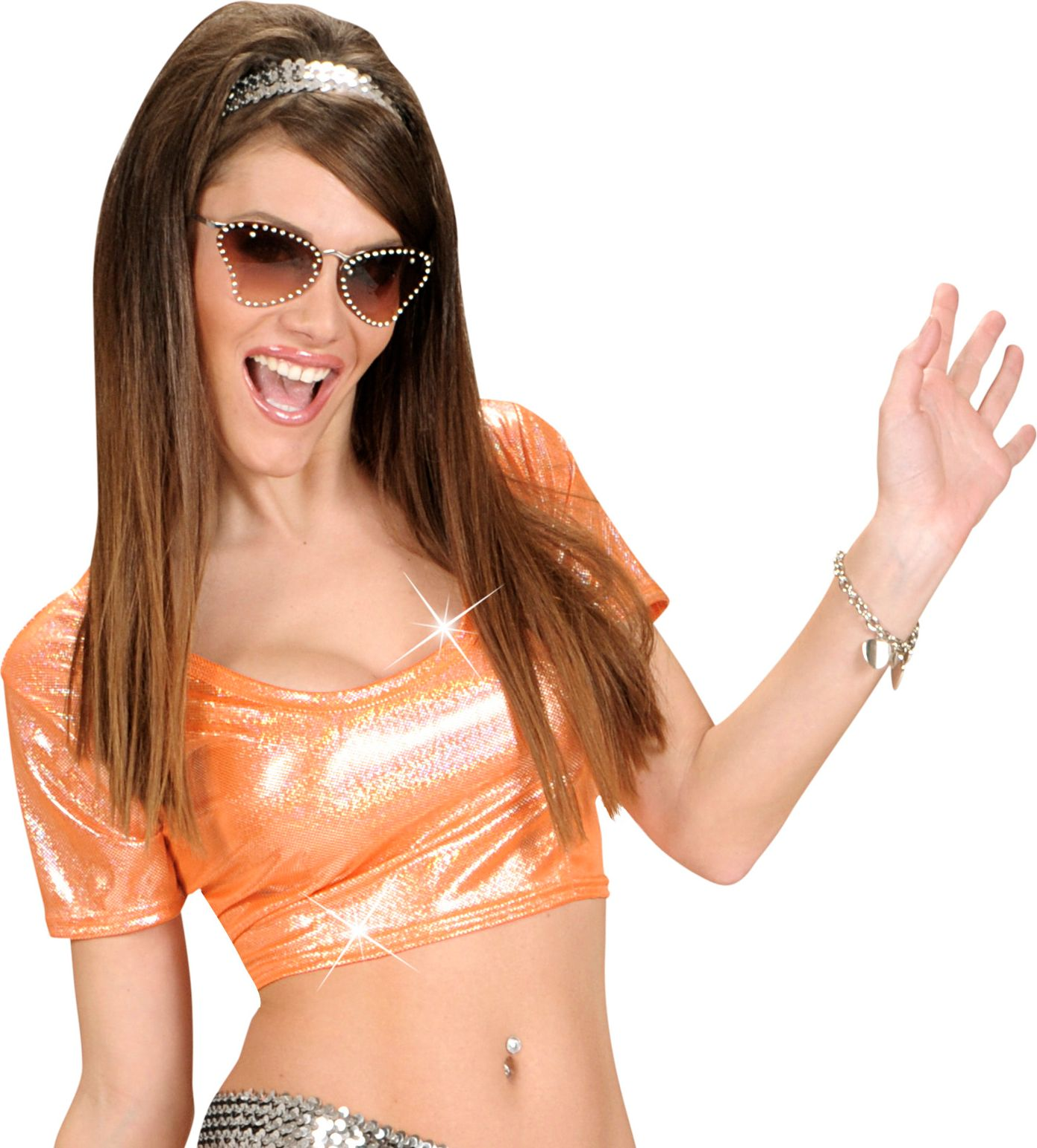 Oranje holografische top