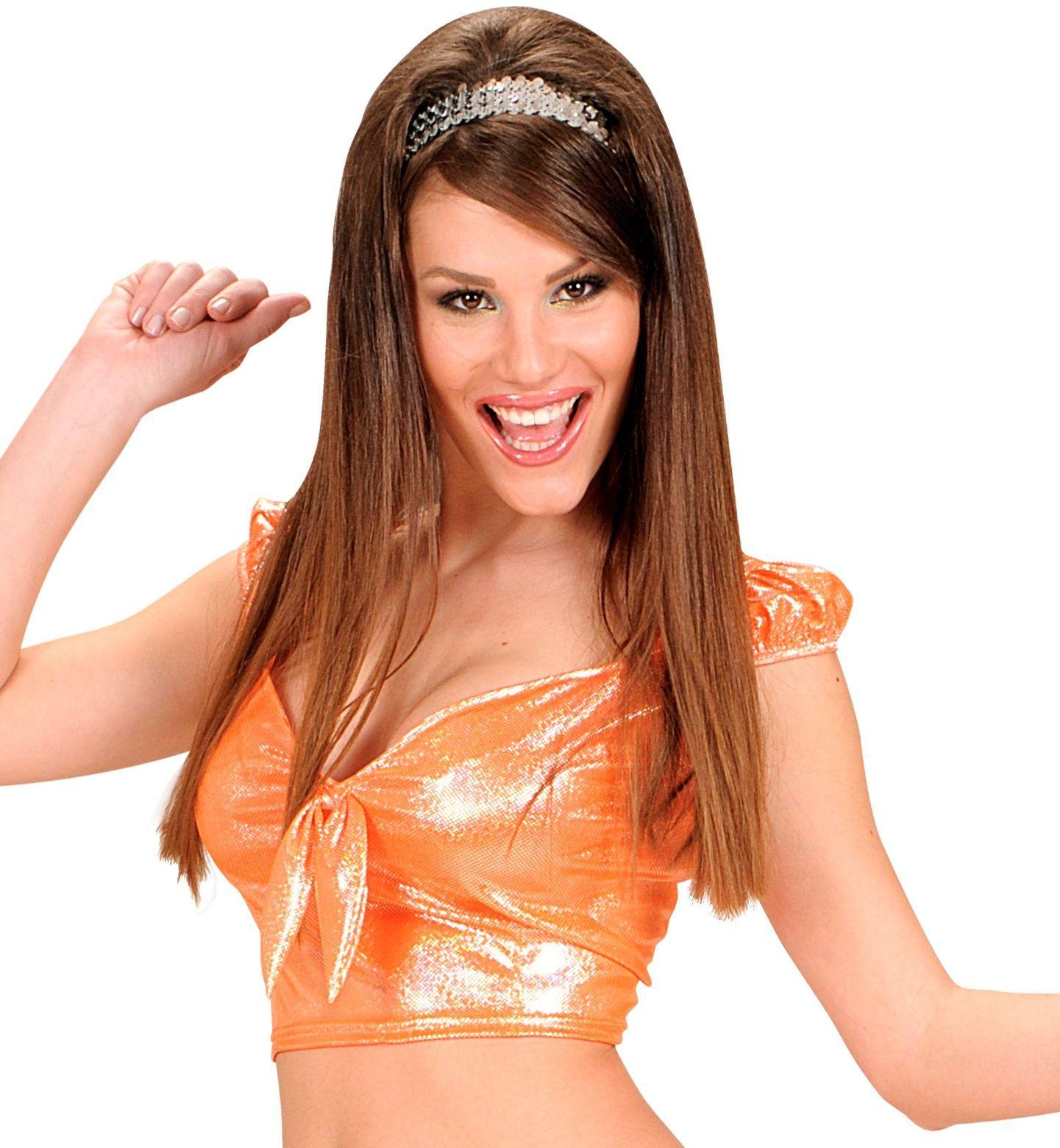 Oranje holografische top met strik
