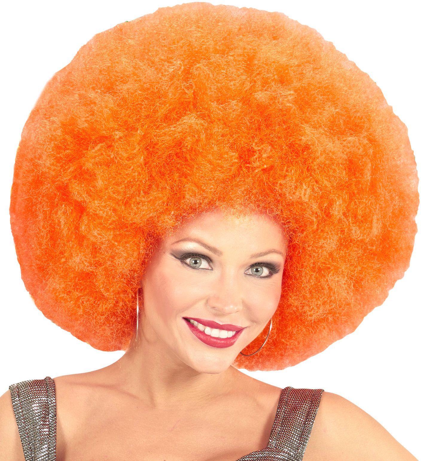 Oranje maxi afro pruik