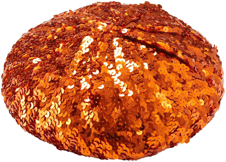 Oranje pailletten basco muts