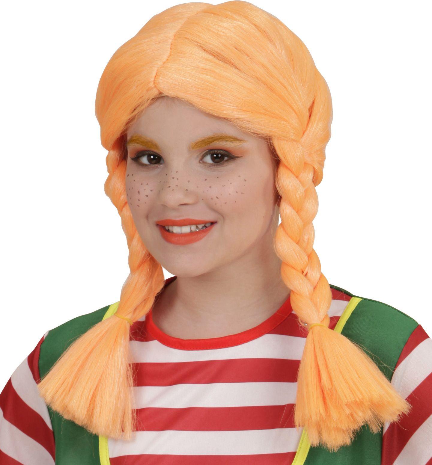 Oranje Pippi Langkous pruik kind