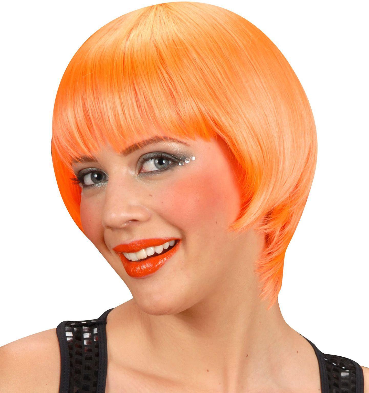 Oranje rave pruik