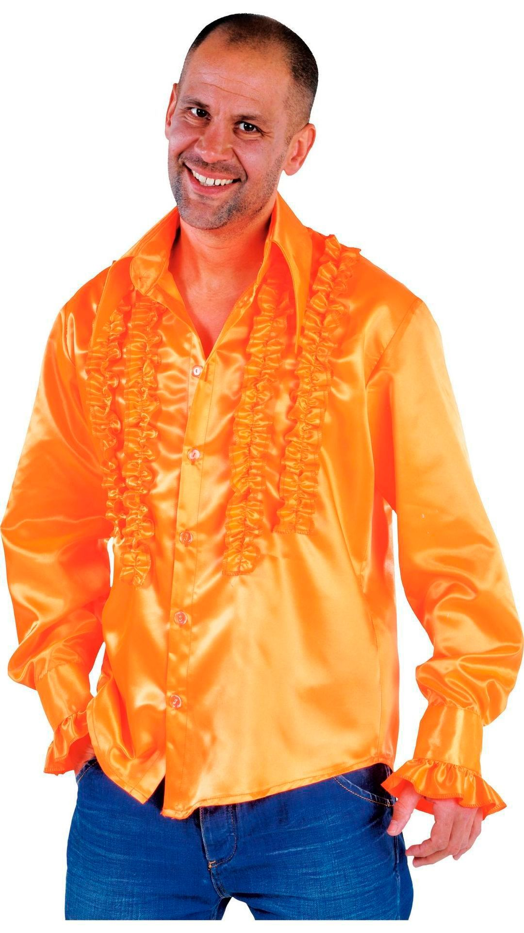 Oranje rouches blouse heren