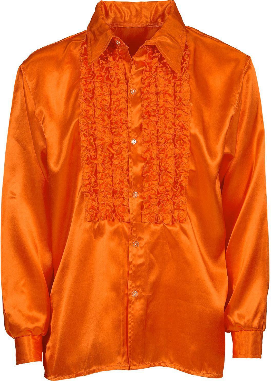 Oranje satijnen rouchen blouse
