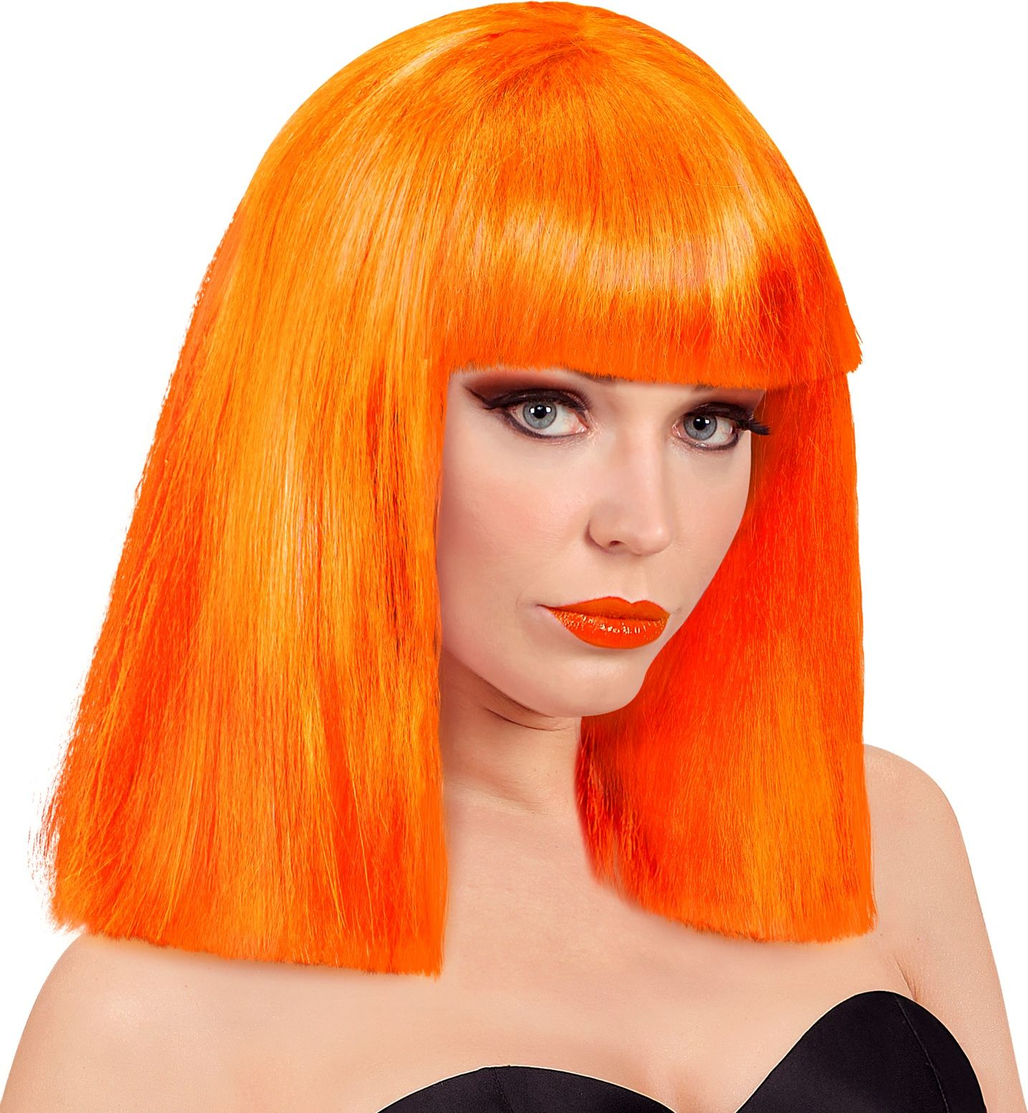 Oranje Showgirl pruik