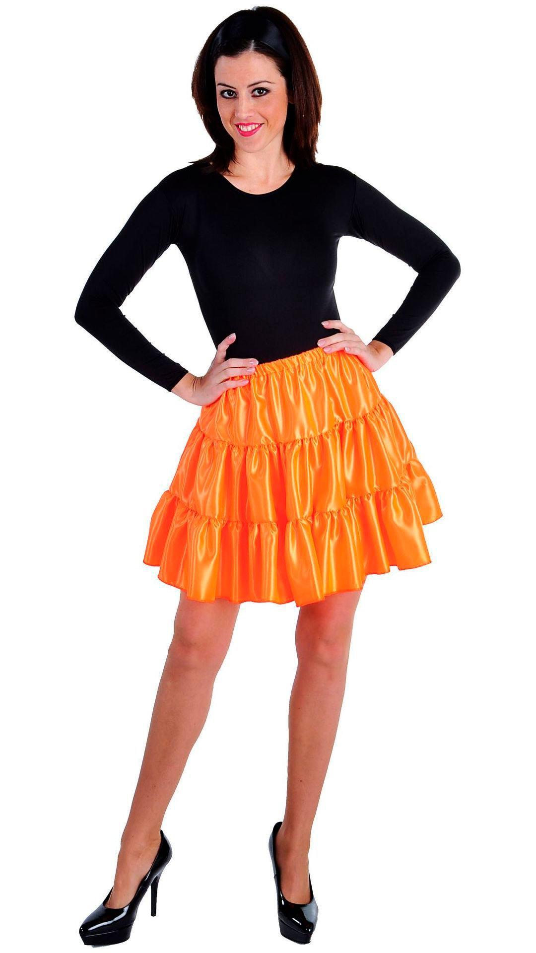 Oranje volangen rok vrouwen kort