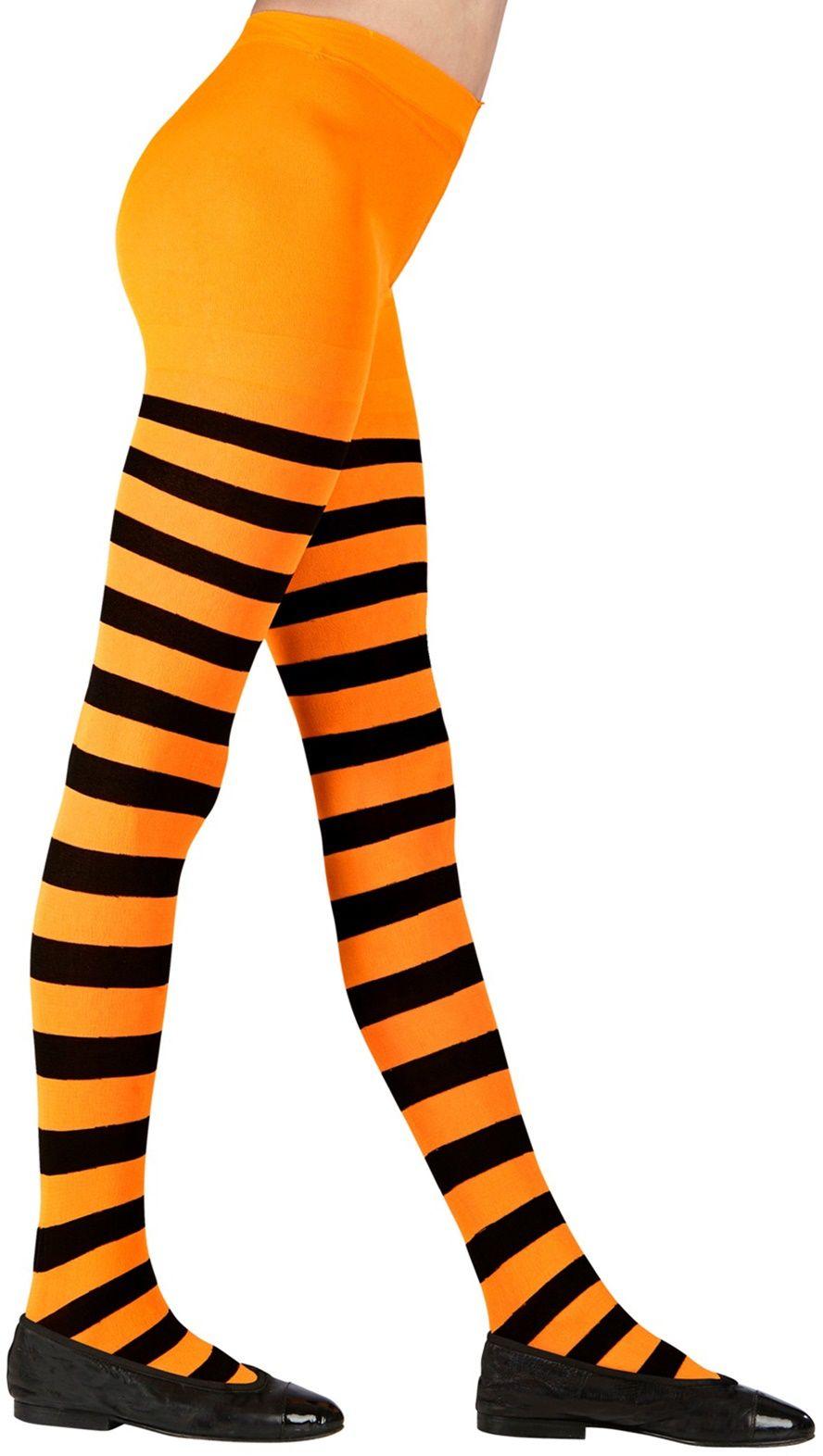 Oranje zwart gestreepte kinderpanty