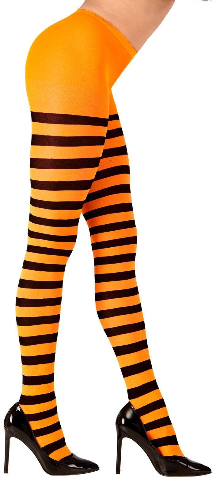 Oranje zwart gestreepte panty