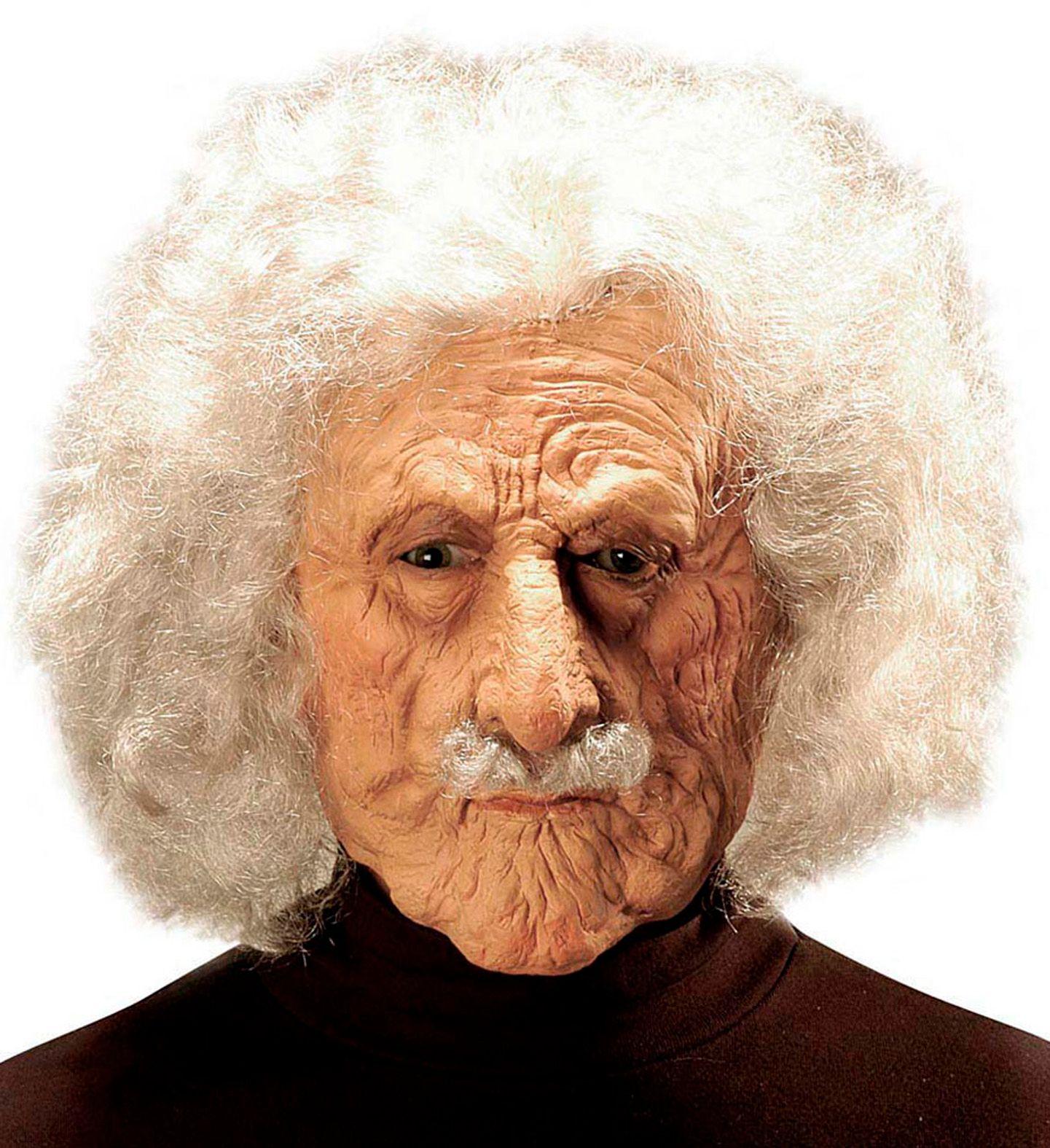 Oude Albert Einstein masker met pruik