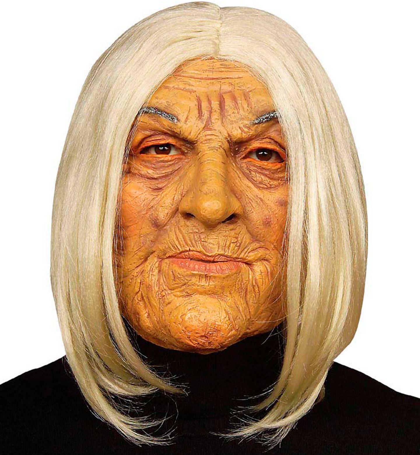 Oude vrouw masker met haar