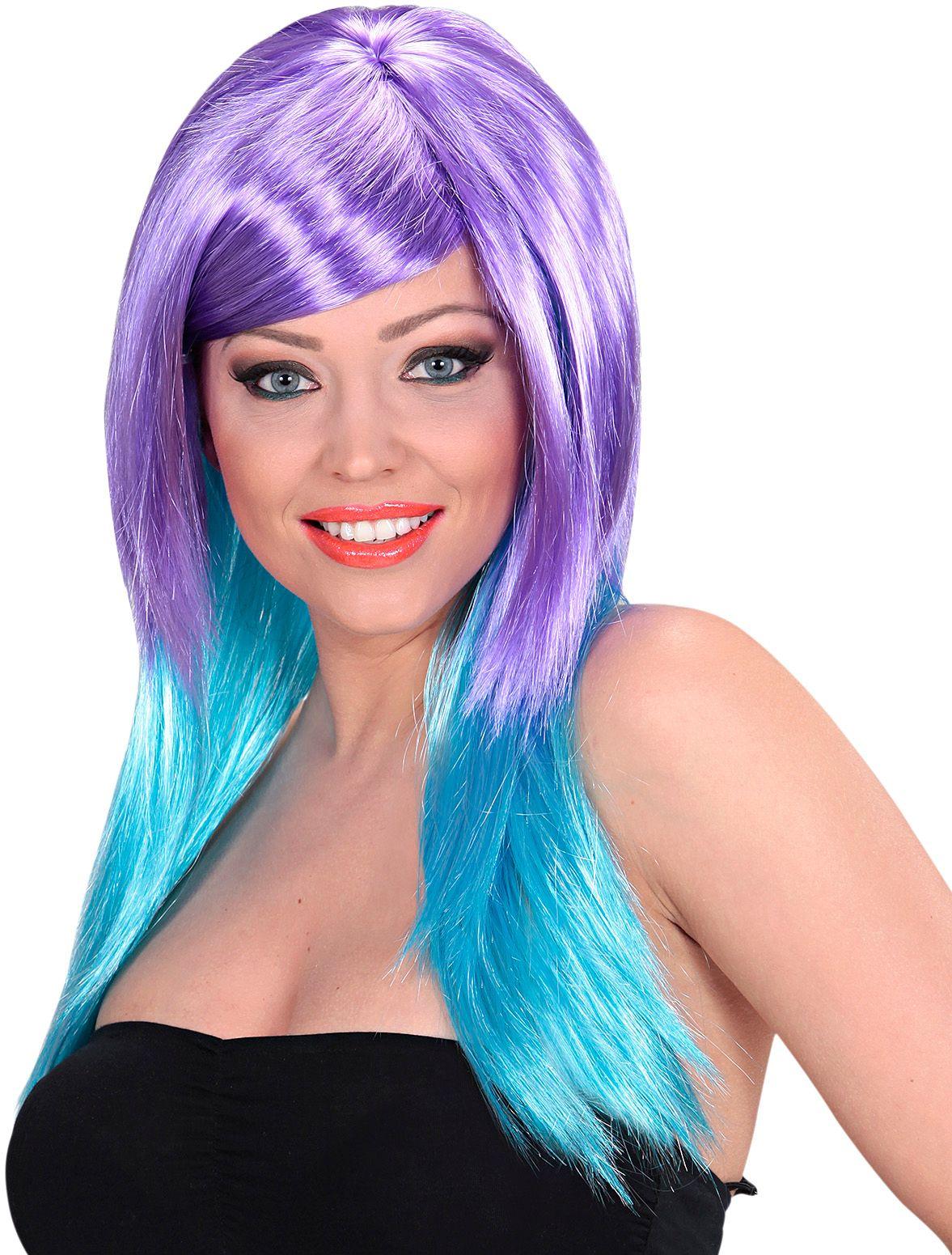 Paars-blauwe pruik lang haar
