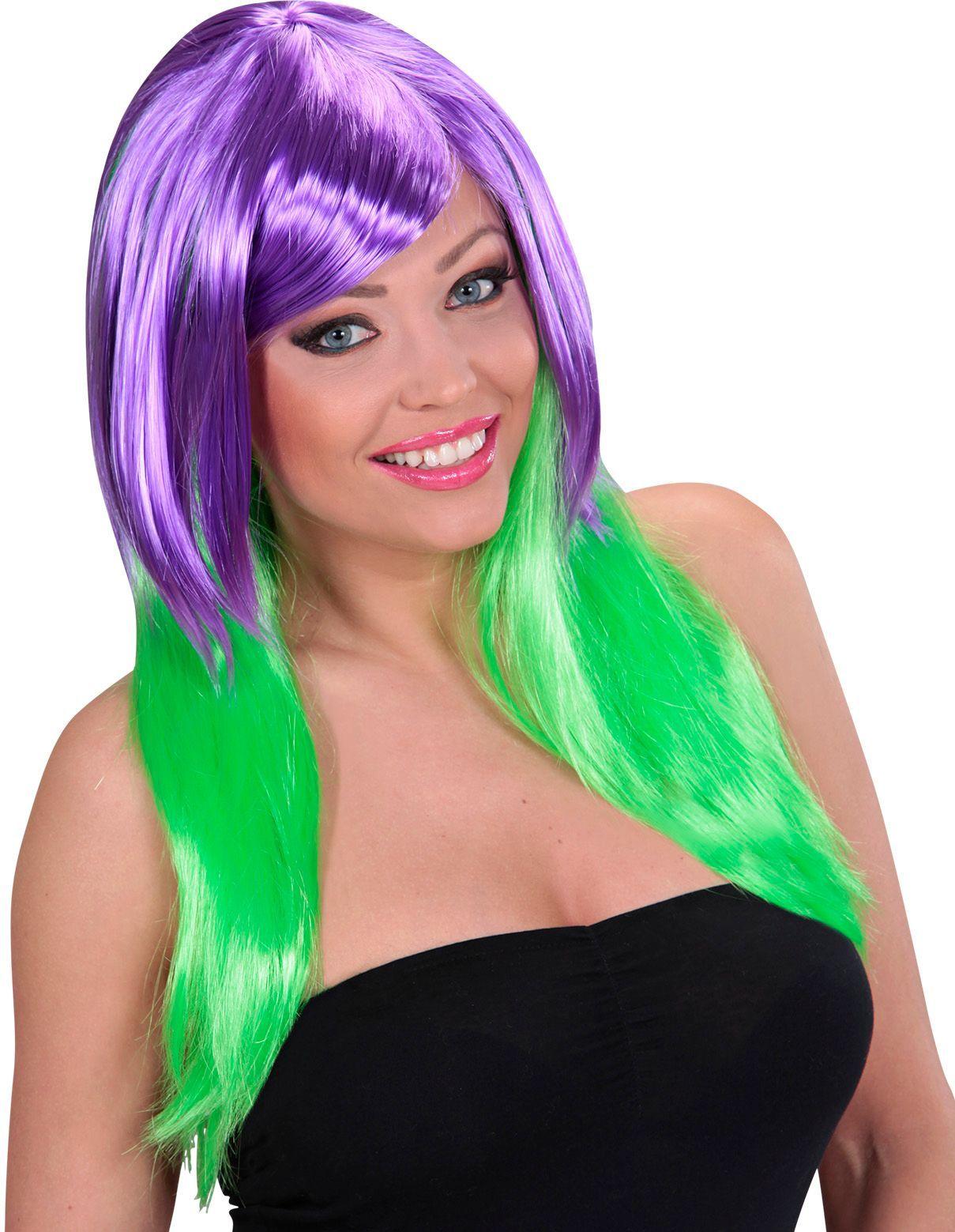 Paars-groene pruik lang haar