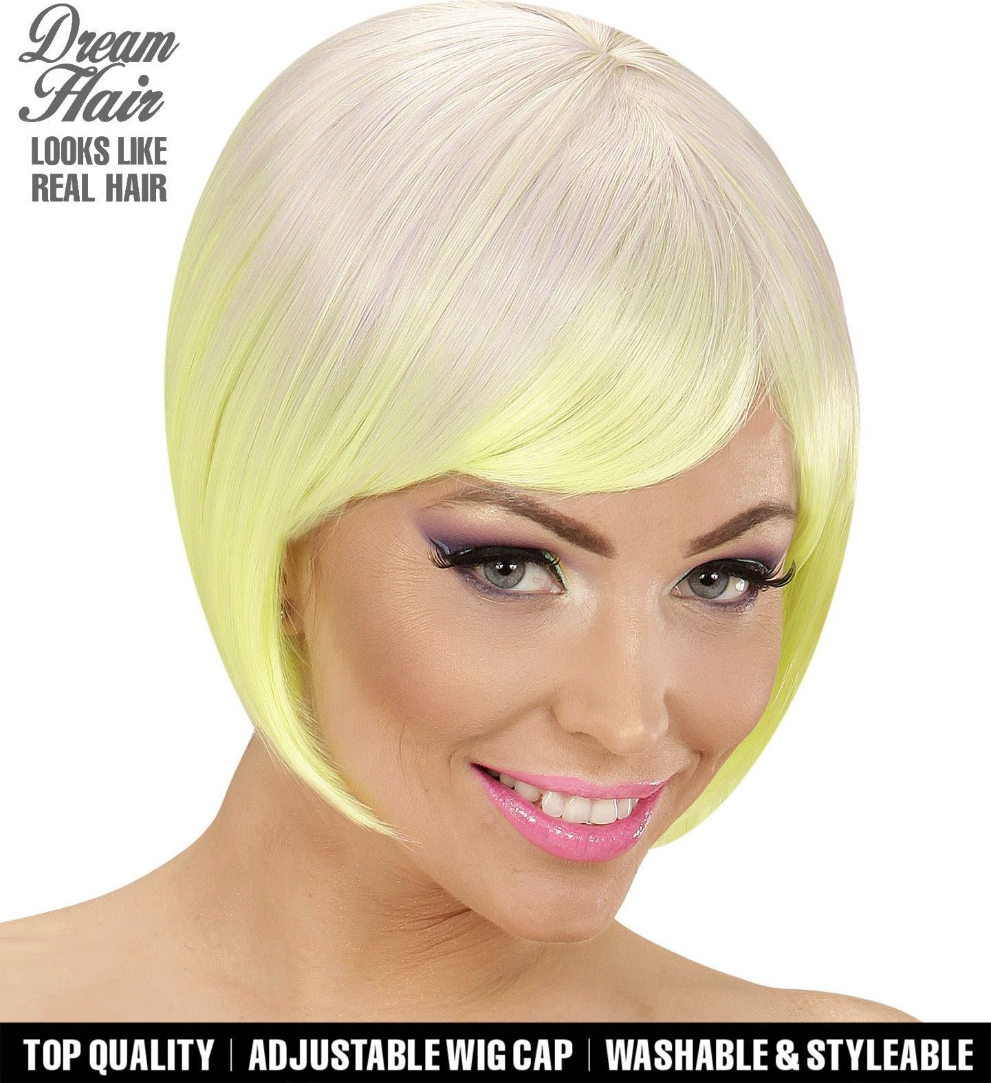 Paars neon gele carnavals pruik dames