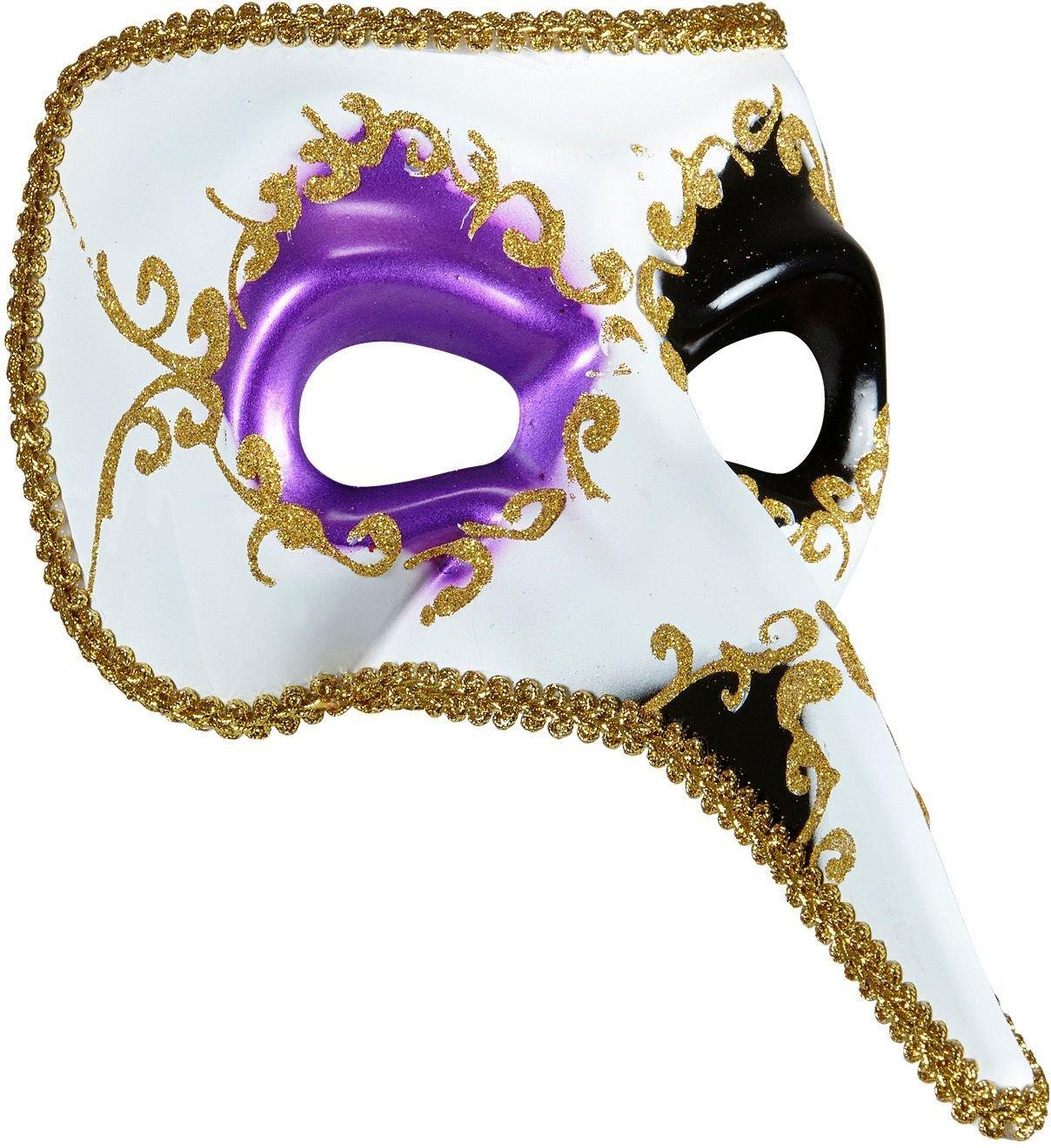 Paars-zwart venetiaans masker met lange neus