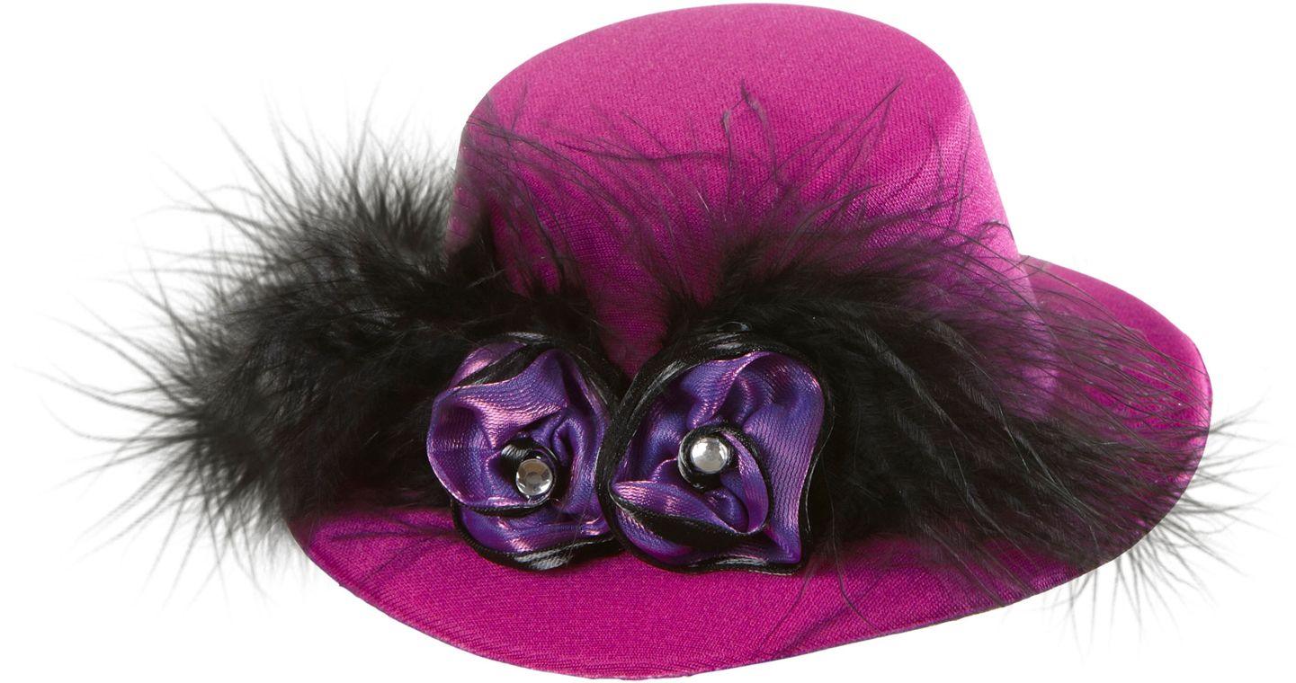 Paarse burlesque mini hoge hoed
