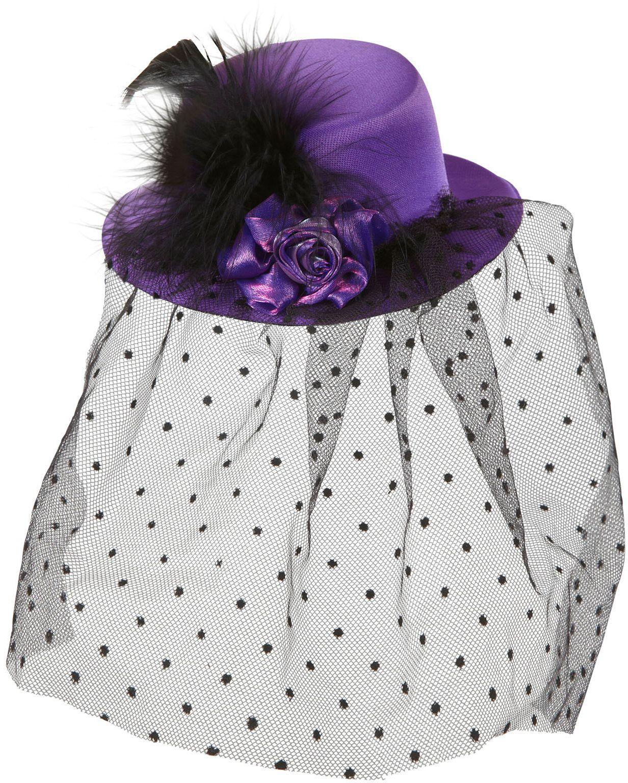 Paarse burlesque mini hoge hoed met sluier