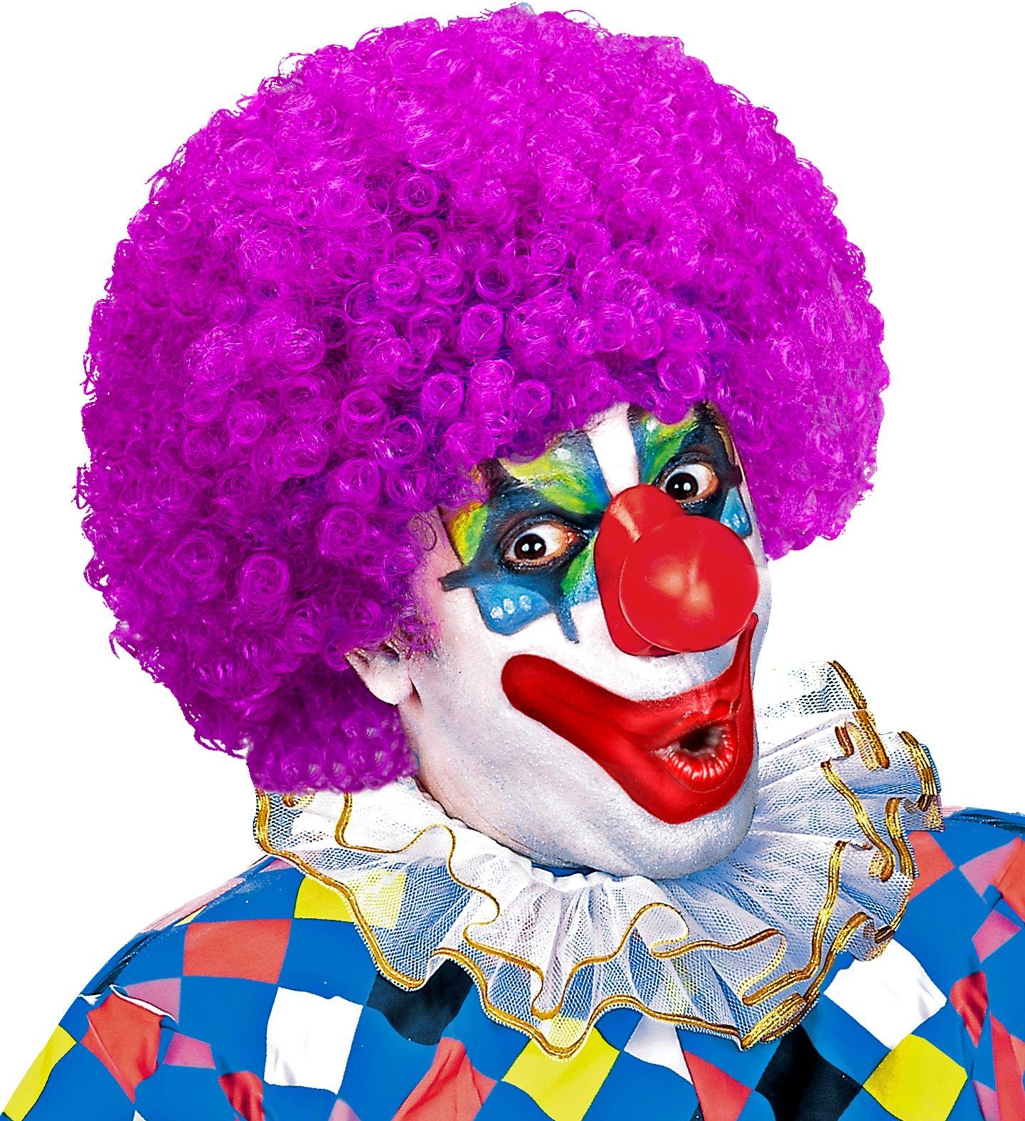 Paarse clowns pruik
