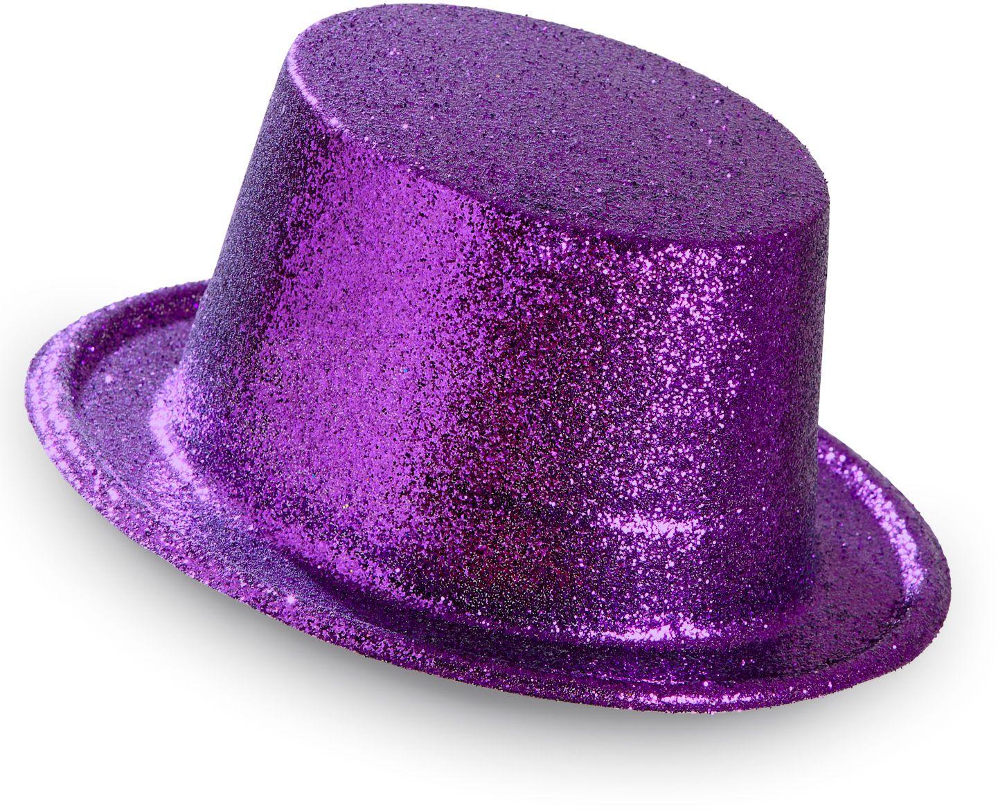 Paarse glitter hoge hoed