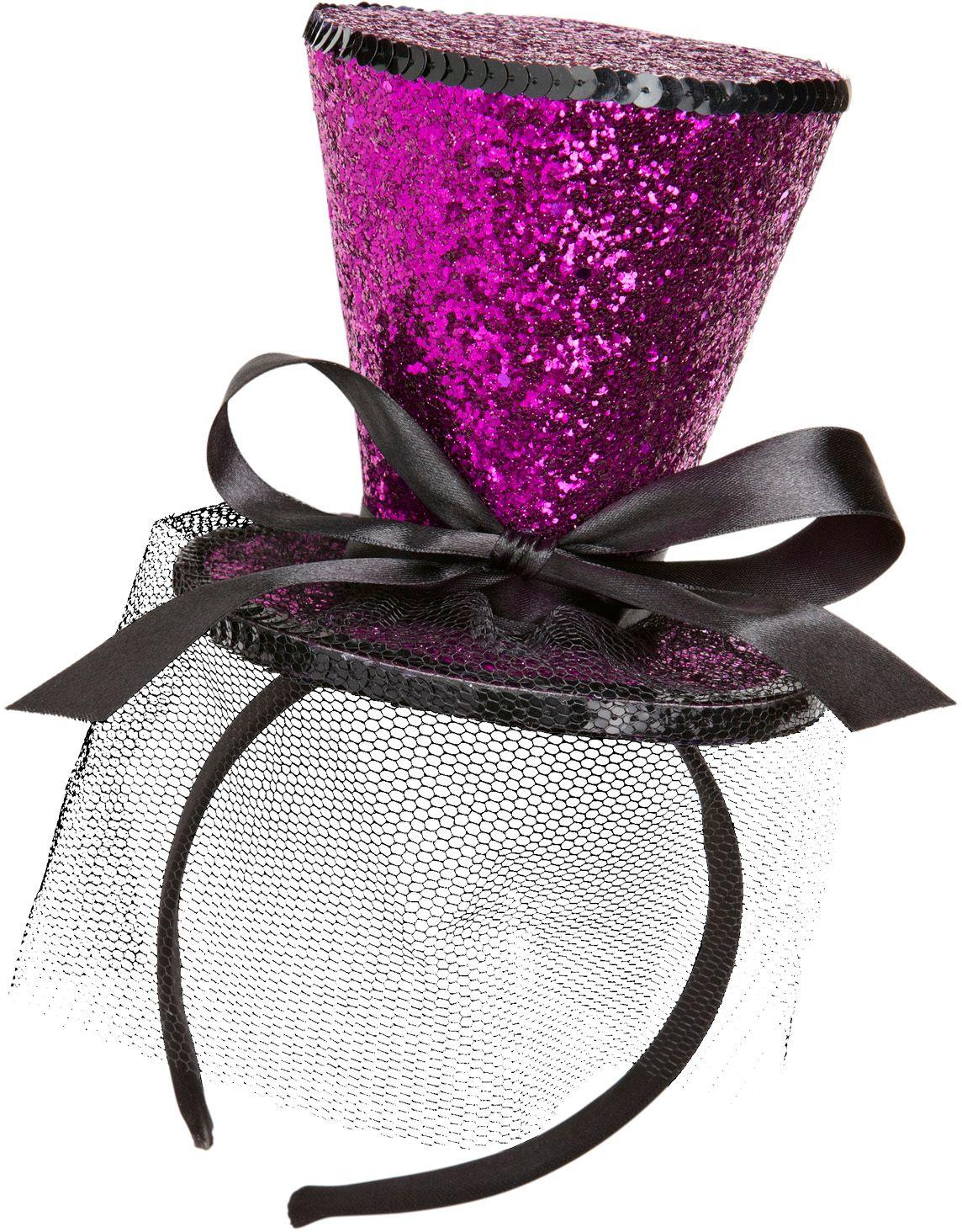 Paarse glitter mini hoge hoed