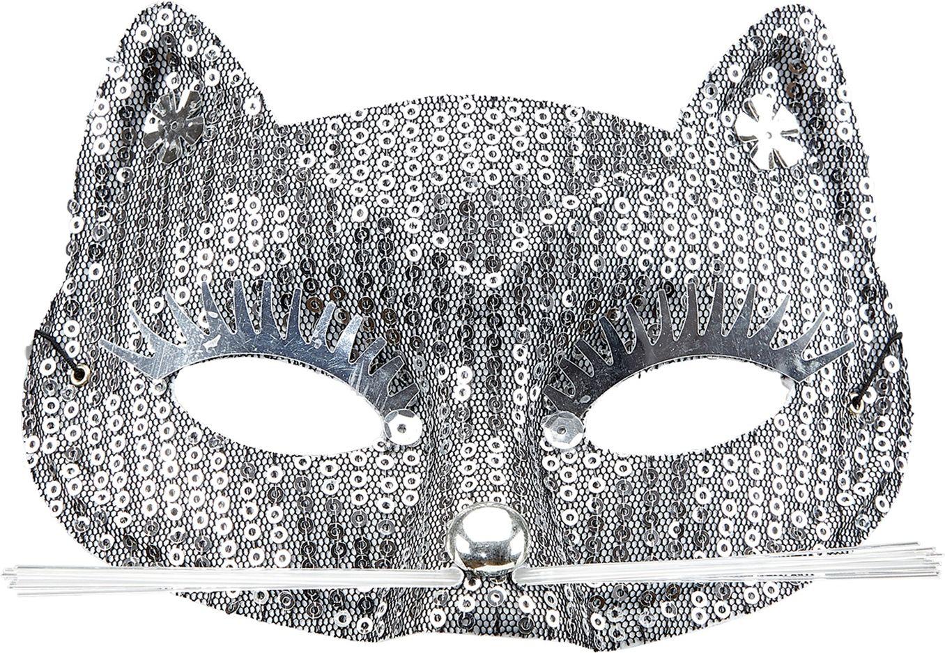 Pailletten katten oogmasker zilver