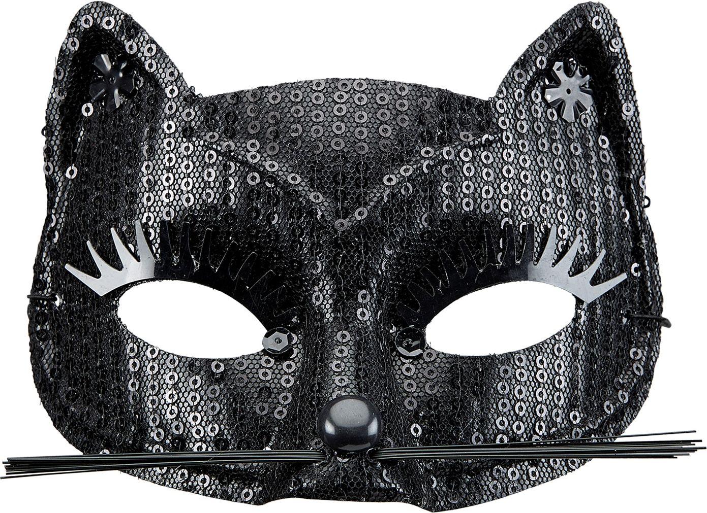 Pailletten katten oogmasker zwart