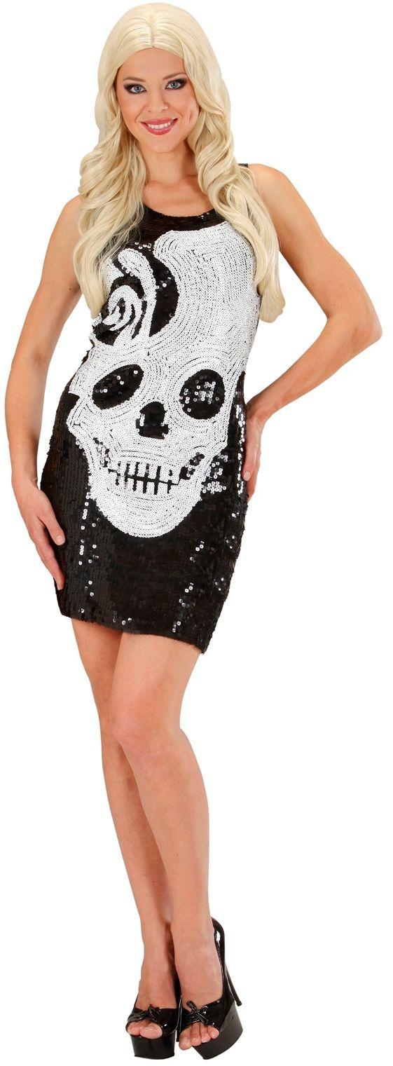 Pailletten schedel jurk