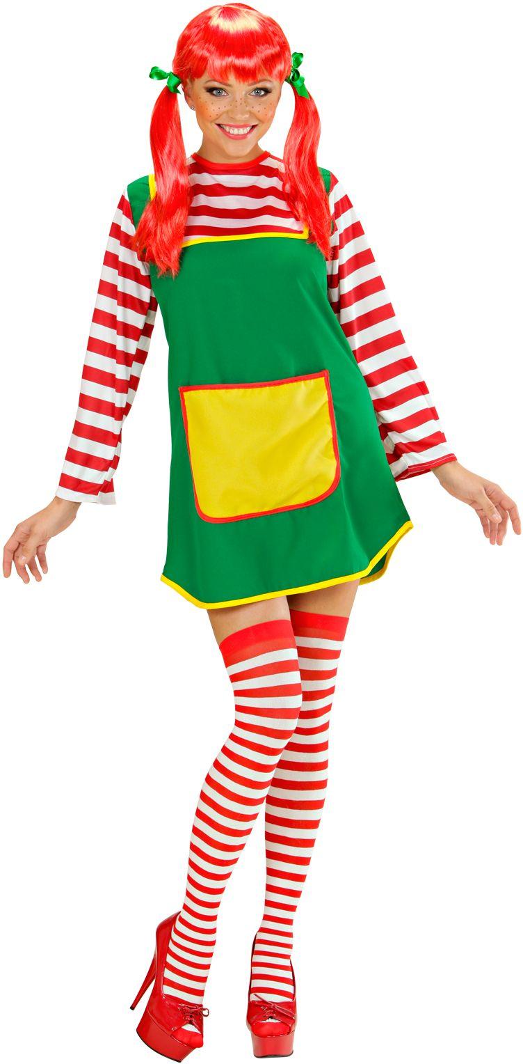 Pippi langkous dames kostuum