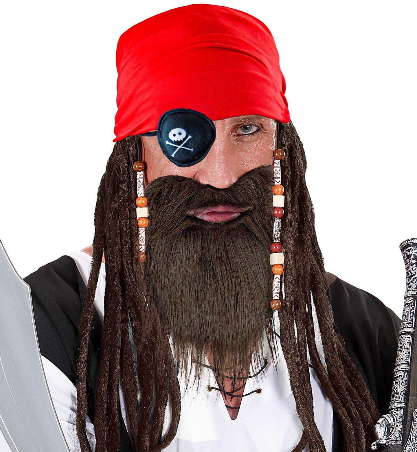 Piraten bandana, ooglapje en baard