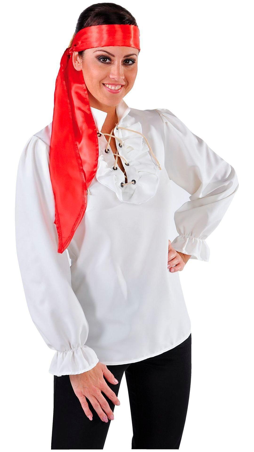 Piraten blouse vrouw wit