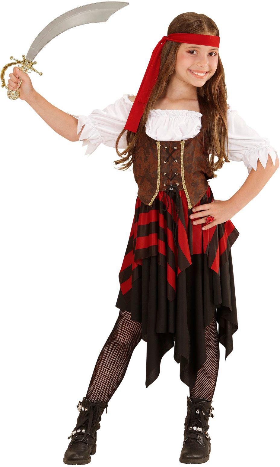 Piraten jurk met corset en hoofdband meisje