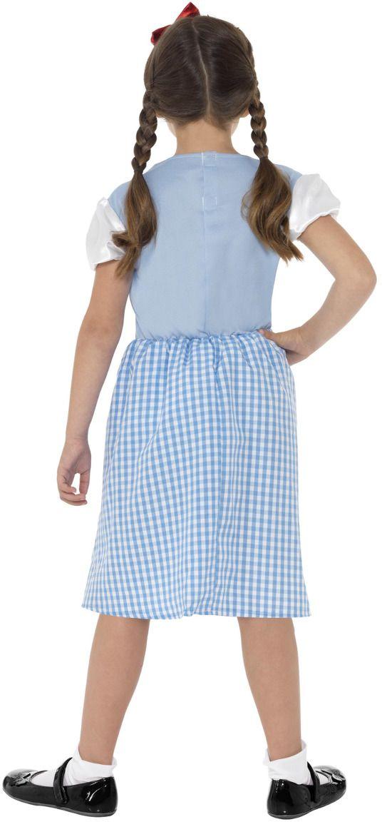 Plattelandsmeisje blauw jurkje