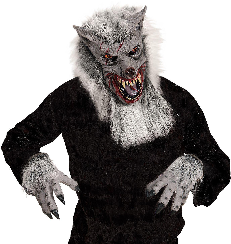Pluche weerwolf masker met handen