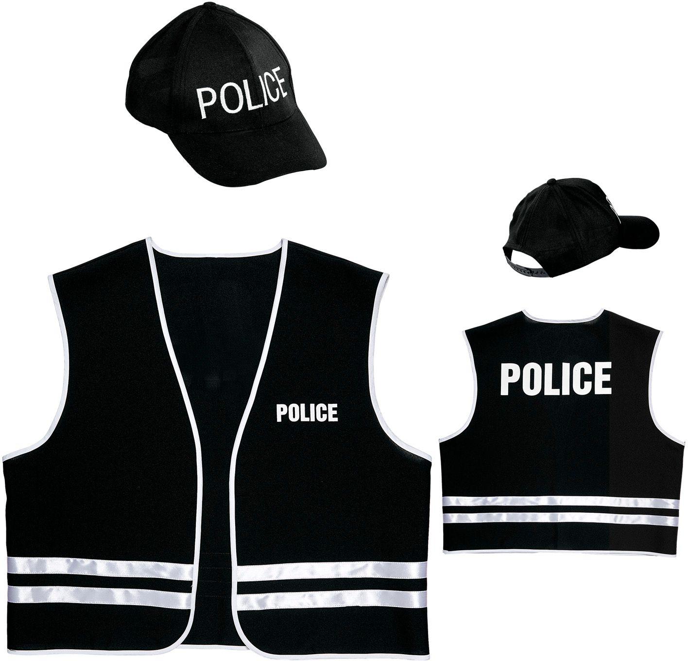 Politie outfit vest met cap